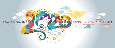 Happy Chinese New Year 2020. Horizontal banner. Beautiful illustration of the white Rat on a bright floral patterns and clouds background 2020 of stylized vibrant nature. Flat vector graphic.