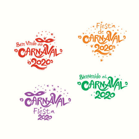 Carnival 2020. A set of four bright multicolored Carnival illustration in three languages Spanish and Portuguese. Ilustração
