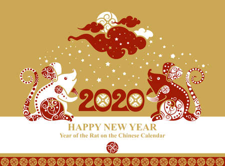 Year of The Metal Rat. 2020. Pattern with two sitting rats decorated with ornament. Beautiful card Happy New Year. Chinese Zodiac Sign Rat 2020. Vector illustration. Ilustração