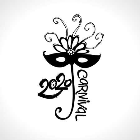 Black mask 2020 Carnival. Hand drawn vector template. Black vector pattern isolated on white. Ilustração