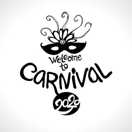 Welcome to Carnival 2020. Black mask vector pattern isolated on white. Hand drawn vector template.