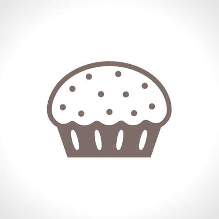 Cupcake with frosting and candied fruit. Flat vector icon. Food design pastry cooking. A simple image of a traditional cake. Ilustração