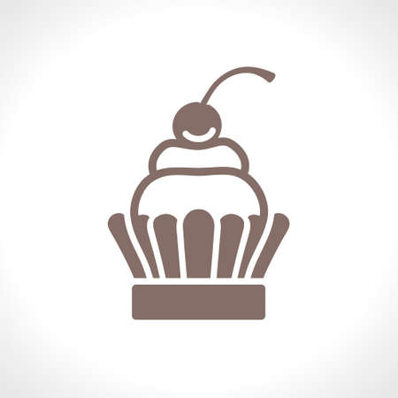 Cupcake. Flat vector icon. Food design pastry cooking. A simple image of a pastry with cream and cherry. Ilustração