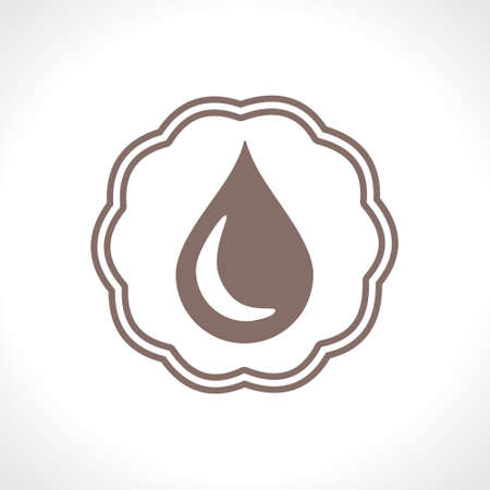 Drop of vegetable oil. Flat vector icon. Food design. Çizim