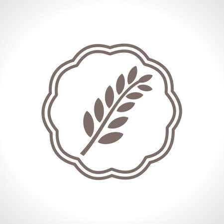Icon for cereal baking. Spikelet of wheat. Flat vector icon. Food design.