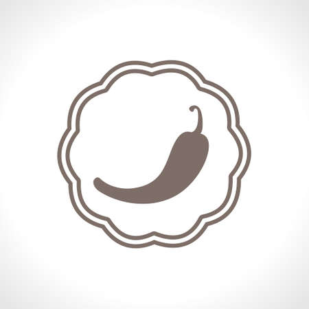 Hot red pepper. Flat vector icon. Food design. A simple image of a spicy food. Ilustração