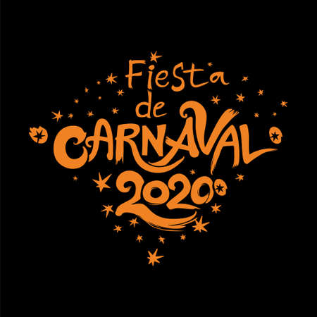 Carnival in Spanish. Vector handwritten  fiesta de Carnaval 2020.