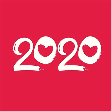 Flat template 2020 with hearts. Happy New Year 2020 . Design template card, cover, calendar, brochure, poster, banner. Ilustração