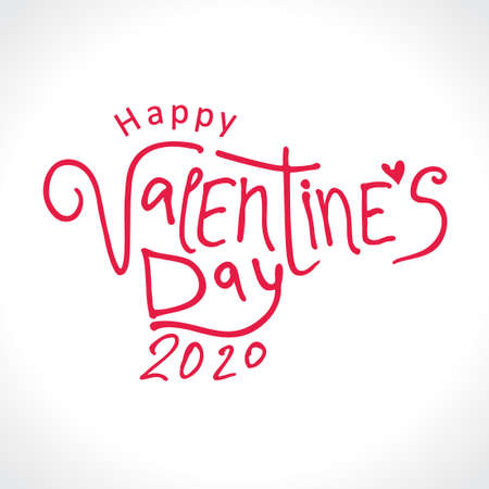 Happy Valentines 2020 Day red modern calligraphy. Valentines day holidays typography print, postcard and more. Vector illustration Ilustração