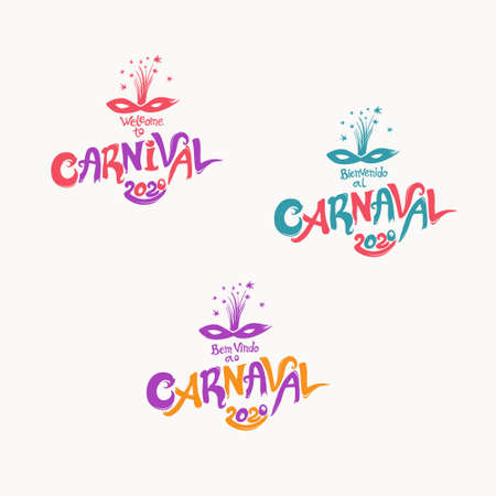 Welcome to Carnival 2020. A set of three bright Carnival in three languages, English, Spanish and Portuguese.