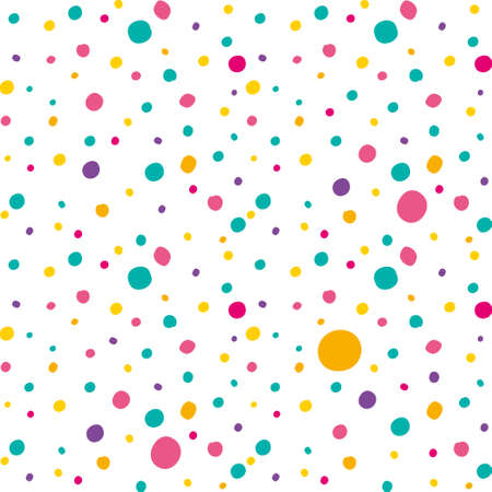 Bright multi colored polka dot pattern vector seamless background. Different jagged circles randomly arranged isolated on white.