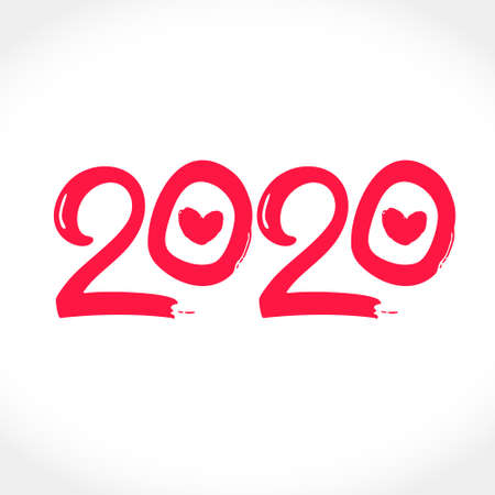 Flat red vector template 2020 with hearts. Happy New Year 2020 Design template card, cover, calendar, brochure, poster, banner.