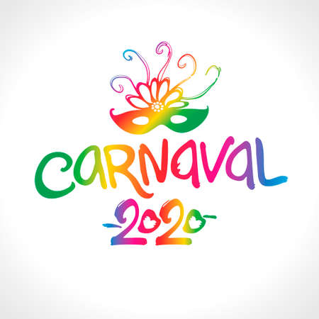 Carnaval 2020. Bright letters and beautiful mask in Spanish translates as carnival. Ilustração