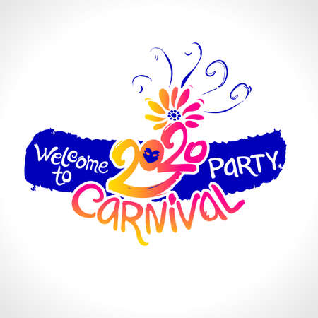 Welcome to Carnival party. 2020. Hand drawn vector template. Bright gradient vector pattern.