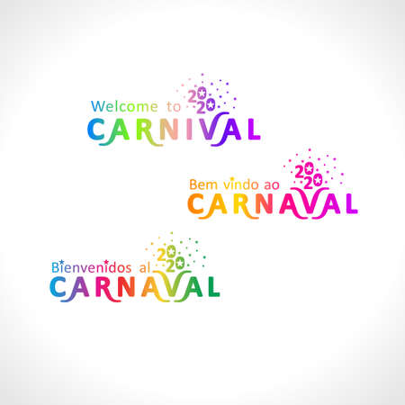 Welcome to the Carnival 2020. A set of three bright color gradient Carnival in three languages, English, Spanish and Portuguese.
