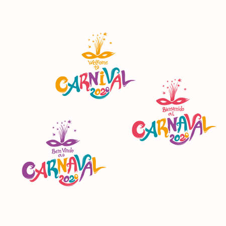 Welcome to Carnival. 2020. A set of three bright Carnival in three languages, English, Spanish and Portuguese.