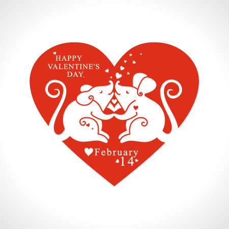 Two white mouse in love with a big red heart. Paper cut festive pattern. Big heart. Happy Valentines Day. Valentines day holidays typography print, postcard, t-shirt and more. Vector illustration