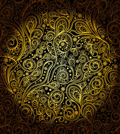 Golden floral flora seamless pattern. Abstract floral retro background in the style of the 20s. Gold pattern on black. Ilustração