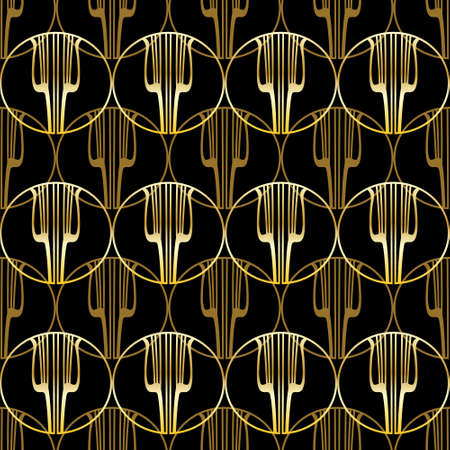 Golden lyre seamless pattern. Gold pattern on black. Abstract geometric retro background in the style of the 20s. Çizim