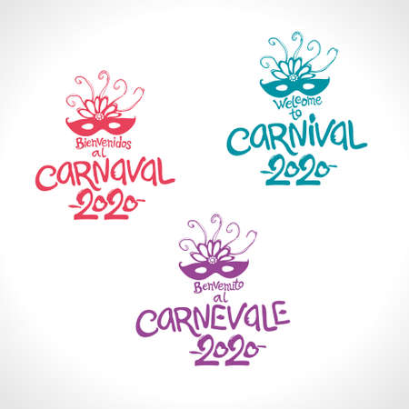 Welcome to Carnival. 2020. Set of three bright Carnival logos in three languages, English, Spanish and Italian. Logo in Carnival, Carnaval. Vector handwritten logo with masks.