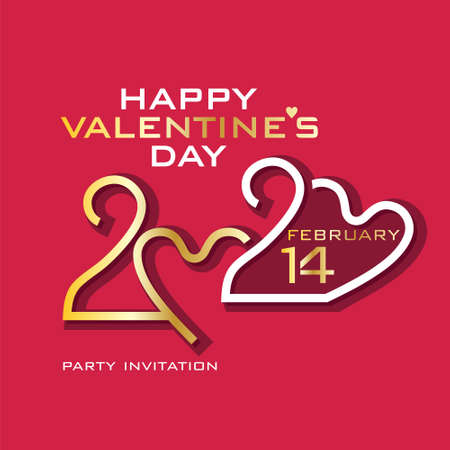 Happy Valentines Day. 2020. Gold and white on purplish red. Stylish vector logo Valentines Day 2020 with a zeros in the shape of heart.
