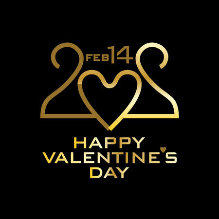 Happy Valentines Day. 2020. Gold on black. Stylish vector monogram logo Valentines Day in the style of 20s of the 20th century. Inverted in mirror image 20 with a zero in the shape of a heart.