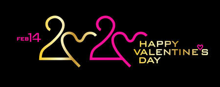Happy Valentines Day. 2020. Golden and pink on black. Horizontal banner for the holiday Valentines Day. Stylish vector logo 2020 with a zero in the shape of a heart.