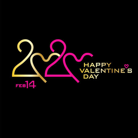 Happy Valentines Day. 2020. Golden and pink on black. Stylish vector logo Valentines Day. 2020 with a zero in the shape of a heart.