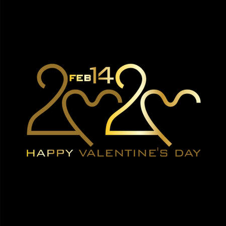 Happy Valentines Day. 2020. Gold on black. Stylish vector logo Valentines Day 2020 with a zeros in the shape of a heart.