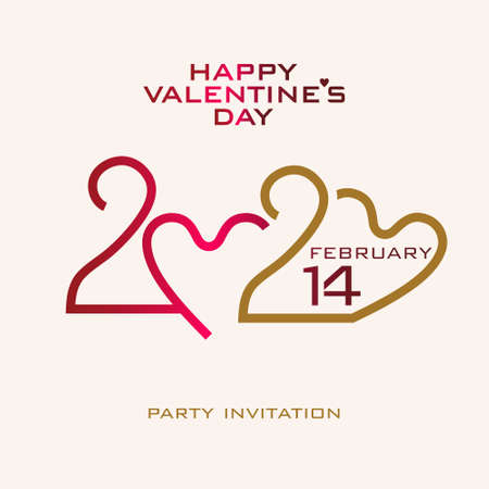 Happy Valentines Day. 2020. Stylish vector logo Valentines Day 2020 with a zeros in the shape of heart.