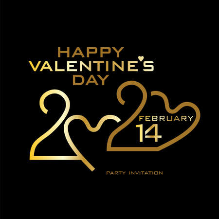 Happy Valentines Day. 2020. Gold on black. Stylish vector logo Valentines Day 2020 with a zeros in the shape of heart.