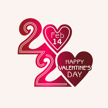 Happy Valentines Day. 2020. Stylish vector monogram logo Valentines Day in the style of 20s zero in the shape of a heart.