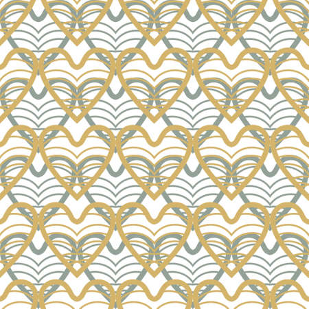 Golden and turquoise hearts seamless pattern.