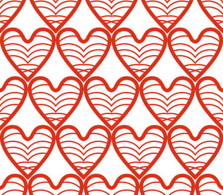 Openwork red pattern from symmetric hearts isolated on white. 일러스트