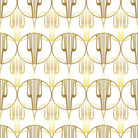 Golden lyre seamless pattern. Illustration