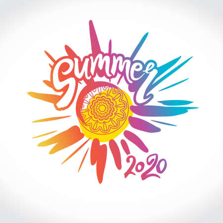 Summer 2020. Bright rays of the colorful sun, an inscription by hand and a circle of ethnic ornament. Stylish seasonal pattern.