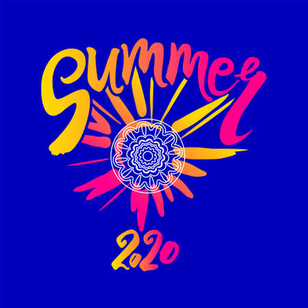 Vector template Summer 2020. Bright rays of the sun, an inscription by hand and a circle of ethnic ornament. Stylish seasonal  Summer. 일러스트