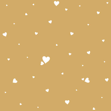 Background of small white hearts on a golden background creating a chaotic pattern. Vector template for romantic design.