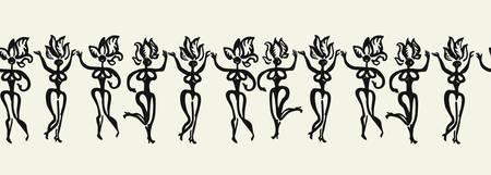 Brazilian dancers carnival procession. Carnival party. Brush drawn ornamental illustration. Vector pattern.