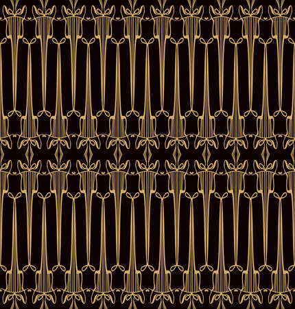Seamless Art Nouveau pattern. Openwork forged gold lattice in the Art Deco style. 일러스트