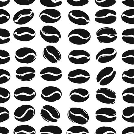 Coffee beans seamless pattern. Black coffee beans isolated on white. Flat vector template for coffee shop. 일러스트