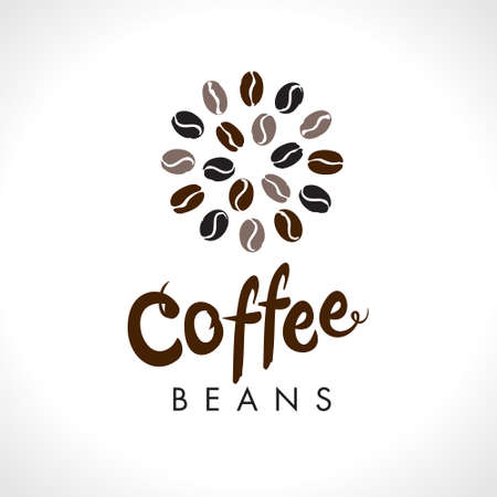 Coffee beans. Round coffee bean symbol vector. Flat vector round template for coffee shop.
