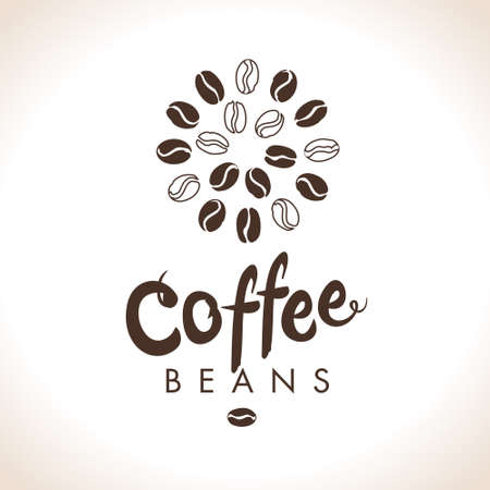 Coffee beans. Round coffee bean symbol vector. Flat vector round template for coffee shop. 스톡 콘텐츠 - 141606711