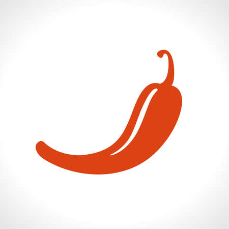 Hot red pepper. Flat vector icon. Food design. A simple image of a spicy food. Иллюстрация