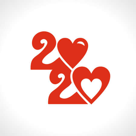 Red vector symbol 2020 zero in the shape of a heart.