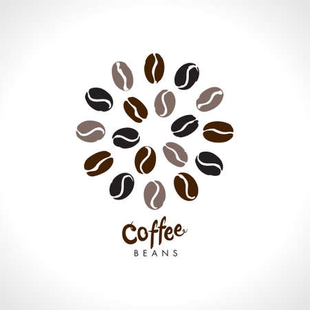 Coffee beans. Round coffee bean symbol vector logo. Flat vector round template for coffee shop. 일러스트