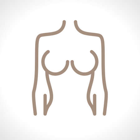Schematic of a female figure. Breast icon line isolated on background. Breast concept drawing icon line in modern style. Vector illustration.
