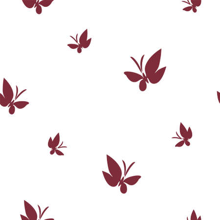 Seamless pattern drawn butterflies. The drawn silhouettes of fluttering moths are isolated on a clean background. Simple vector background for design.