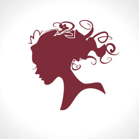 Vector silhouette of a female profile. 일러스트