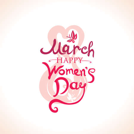 Beautiful hand written template. 8 March. Happy Women's Day card. Illustration with lettering and butterflies.